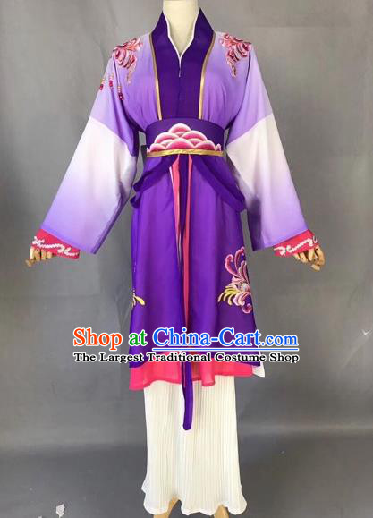 Chinese Traditional Beijing Opera Maidservant Purple Dress Peking Opera Diva Costumes for Adults