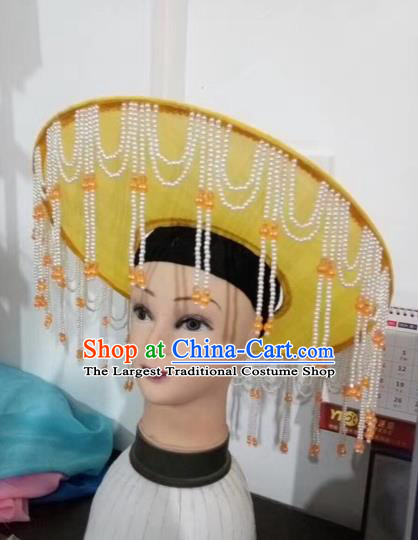 Chinese Traditional Beijing Opera Fishing Lady Yellow Hat Peking Opera Drakan Headwear for Adults