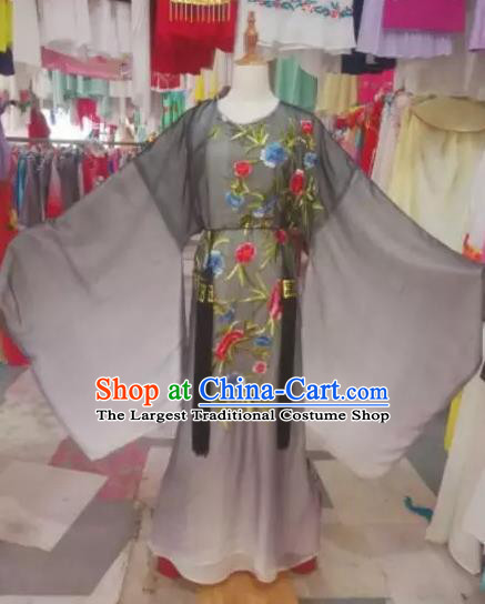 Chinese Traditional Beijing Opera Scholar Embroidered Black Robe Peking Opera Niche Costume for Adults