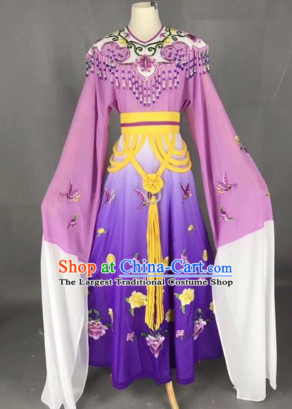 Chinese Traditional Beijing Opera Palace Princess Purple Dress Peking Opera Diva Costumes for Adults