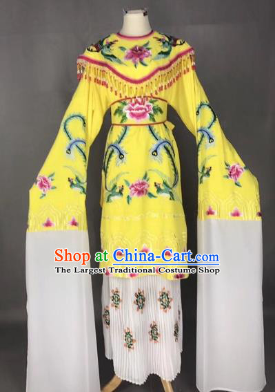 Chinese Traditional Peking Opera Imperial Consort Yellow Dress Beijing Opera Diva Embroidered Phoenix Costumes for Adults