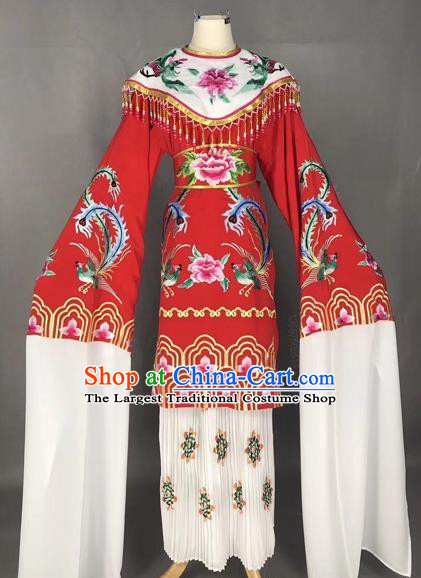 Chinese Traditional Peking Opera Imperial Consort Red Dress Beijing Opera Diva Embroidered Phoenix Costumes for Adults