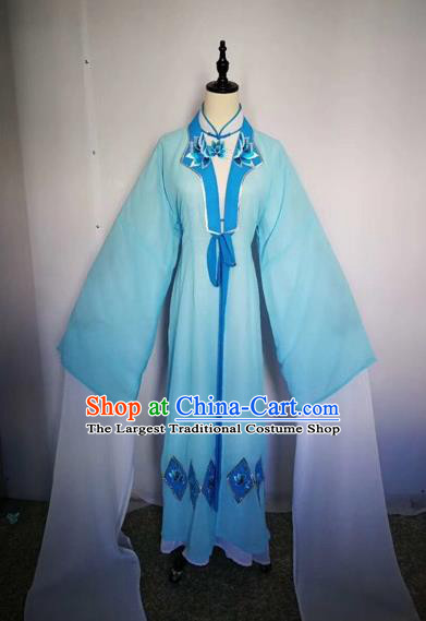 Chinese Traditional Peking Opera Actress Blue Dress Beijing Opera Buddhist Nun Embroidered Costumes for Adults