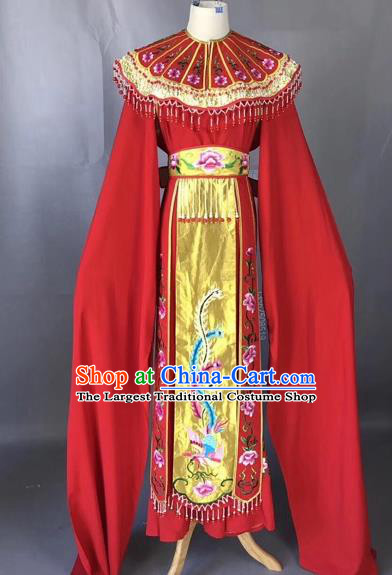 Chinese Peking Opera Actress Red Dress Traditional Beijing Opera Princess Embroidered Costumes for Adults