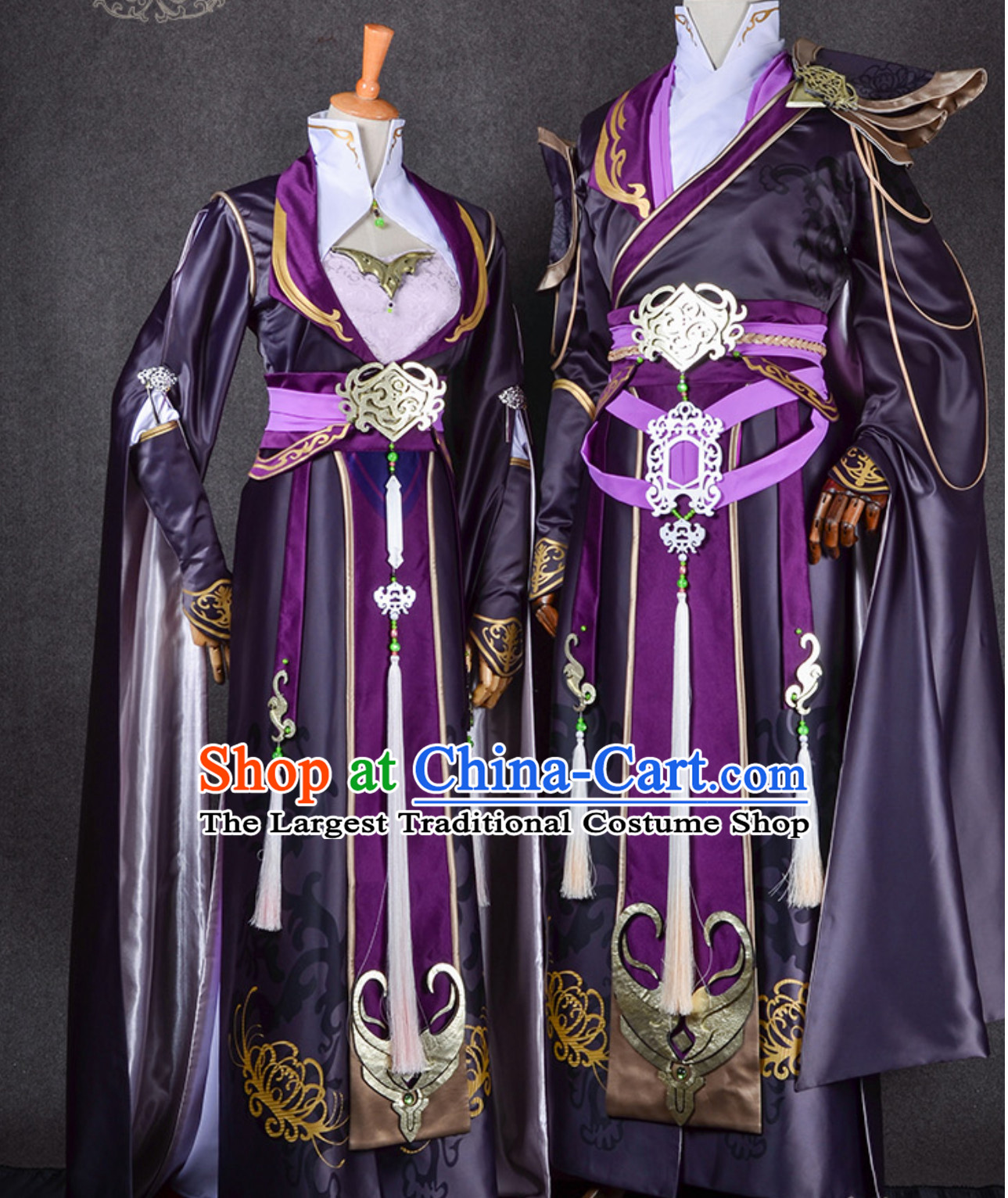Ancient Chinese Swordsman Swordswoman Cosplay Superhero Costumes 2 Complete Sets for TV Show Film or Performance