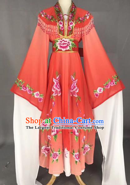 Chinese Peking Opera Actress Red Dress Traditional Beijing Opera Rich Lady Embroidered Costumes for Adults
