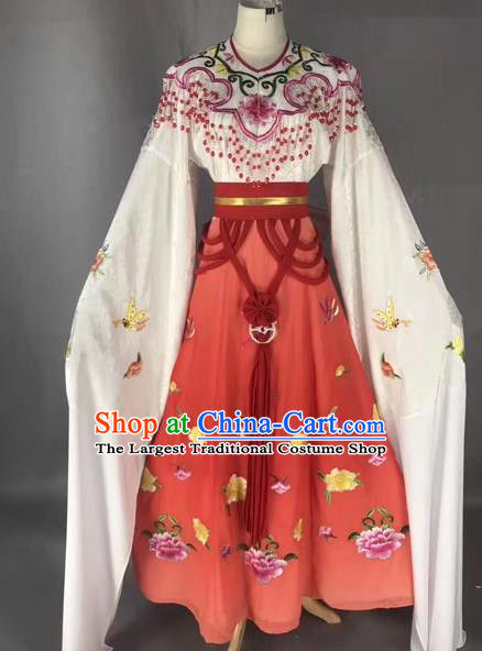 Chinese Peking Opera Diva Red Dress Traditional Beijing Opera Rich Lady Embroidered Costumes for Adults