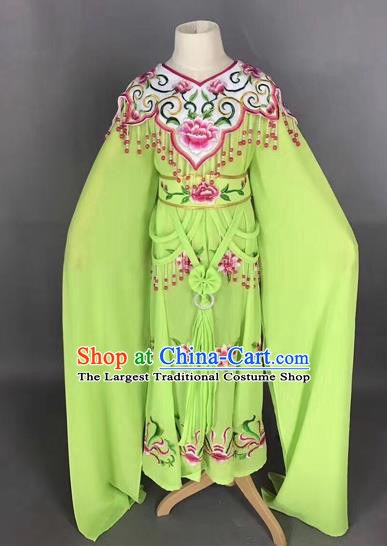 Traditional Chinese Peking Opera Costume Beijing Opera Actress Green Dress for Kids