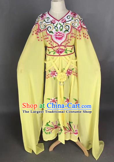 Traditional Chinese Peking Opera Costume Beijing Opera Actress Yellow Dress for Kids