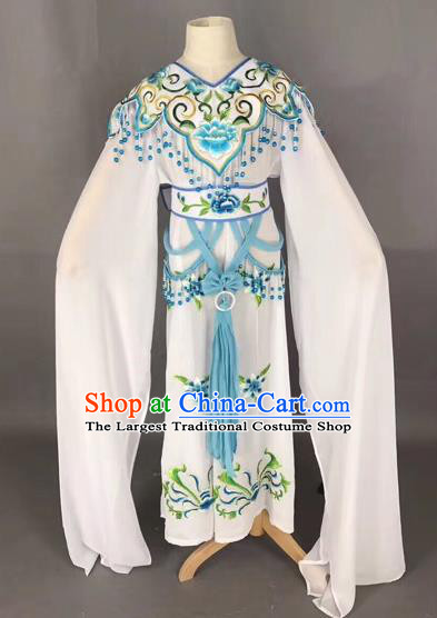 Traditional Chinese Peking Opera Costume Beijing Opera Actress White Dress for Kids