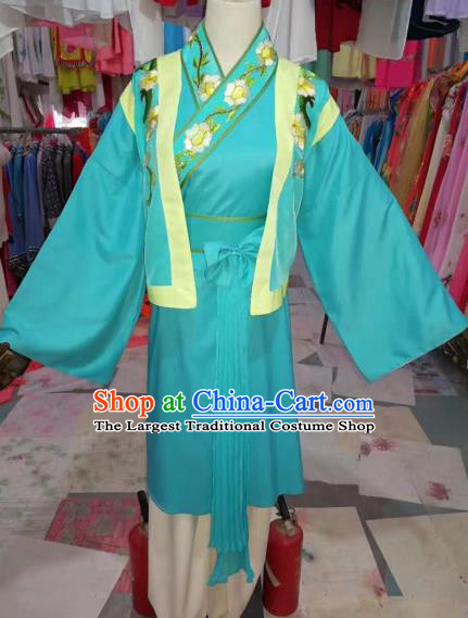 Traditional Chinese Peking Opera Mui Tsai Costume Beijing Opera Maidservants Green Dress for Adults