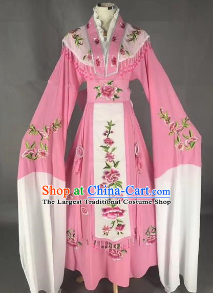 Chinese Peking Opera Diva Pink Dress Traditional Beijing Opera Rich Lady Embroidered Costumes for Adults