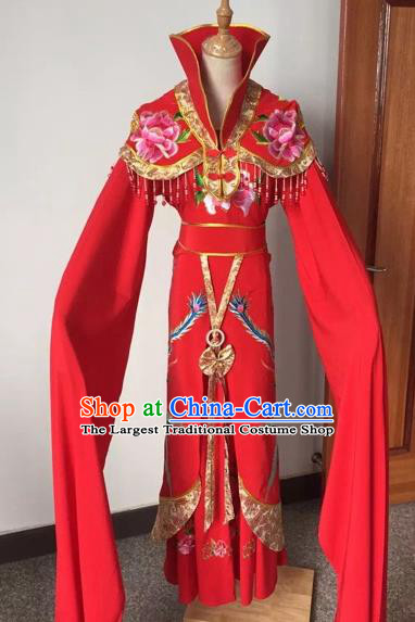 Chinese Ancient Peking Opera Empress Embroidered Red Dress Traditional Beijing Opera Diva Costumes for Adults