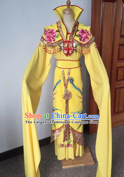 Chinese Ancient Peking Opera Empress Embroidered Yellow Dress Traditional Beijing Opera Diva Costumes for Adults