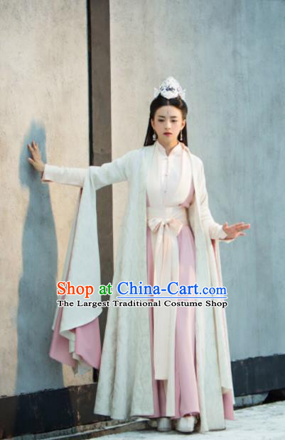 Legend Of Fu Yao Chinese Ancient Princess Costumes Traditional Palace Lady Hanfu Dress and Headpiece Complete Set
