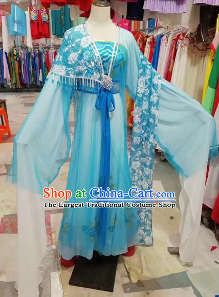 Traditional Chinese Peking Opera Princess Costume Beijing Opera Diva Fairy Blue Dress for Adults