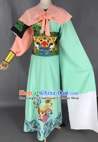 Chinese Beijing Opera General Green Clothing Traditional Peking Opera Prince Costume for Adults