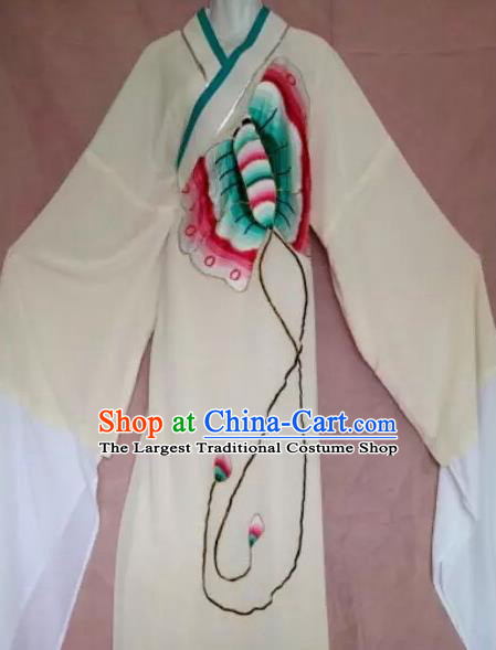 Chinese Beijing Opera Butterfly Lovers Scholar Beige Robe Traditional Peking Opera Niche Costumes for Adults
