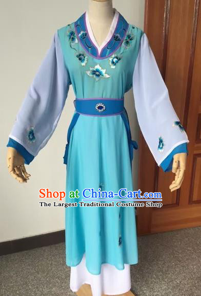 Chinese Beijing Opera Young Lady Blue Dress Ancient Maidservants Costume for Adults
