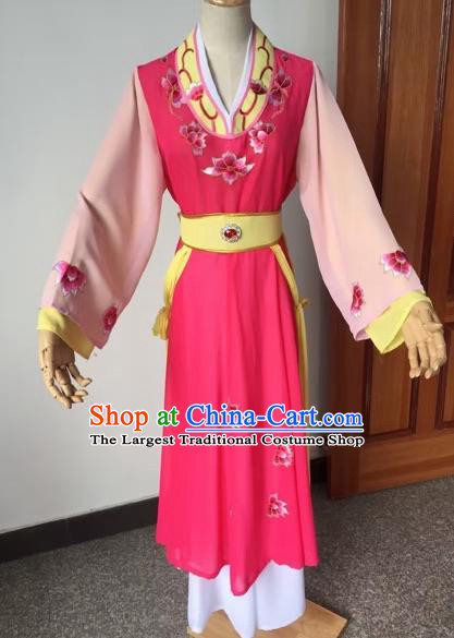 Chinese Beijing Opera Young Lady Rosy Dress Ancient Maidservants Costume for Adults