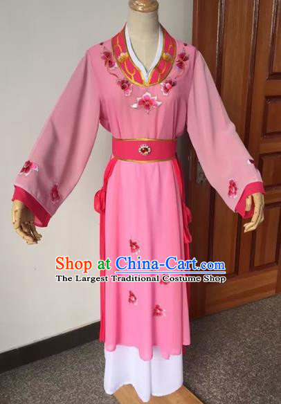 Chinese Beijing Opera Young Lady Pink Dress Ancient Maidservants Costume for Adults