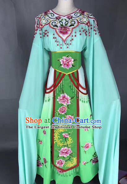 Chinese Shaoxing Opera Princess Green Embroidered Dress Traditional Beijing Opera Diva Costume for Adults