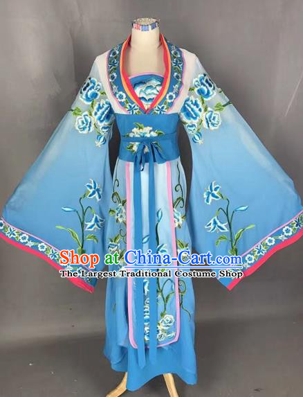 Chinese Traditional Peking Opera Diva Blue Embroidered Dress Ancient Imperial Consort Costume for Adults