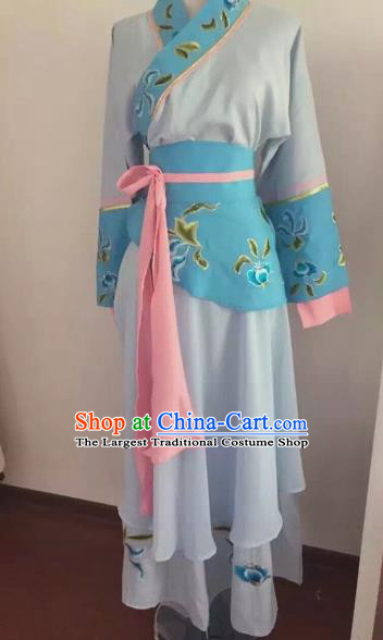 Chinese Huangmei Opera Maidservants Blue Dress Traditional Beijing Opera Diva Costume for Adults