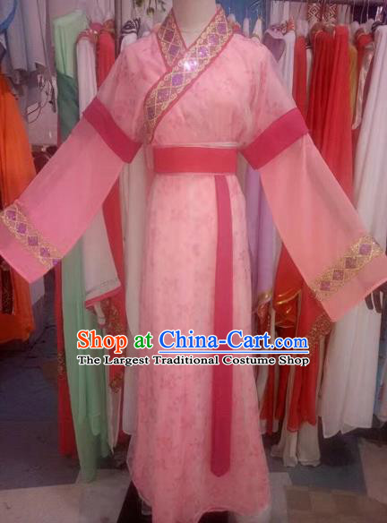 Chinese Traditional Peking Opera Diva Pink Dress Ancient Palace Lady Costume for Adults