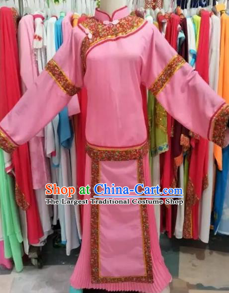Chinese Traditional Peking Opera Pink Dress Ancient Maidservants Costume for Adults