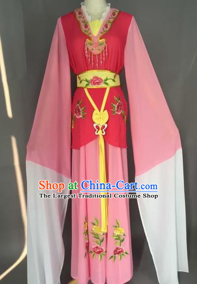 Chinese Beijing Opera Maidservants Pink Clothing Ancient Palace Lady Costume for Adults