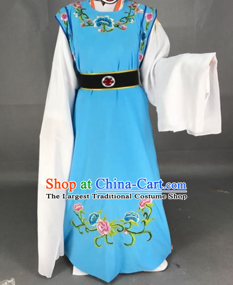 Chinese Beijing Opera Niche Jia Baoyu Blue Clothing Traditional Peking Opera Scholar Costume for Adults