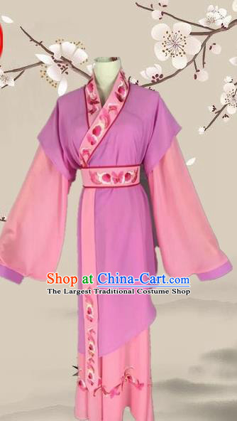 Chinese Ancient Servant Girl Purple Clothing Traditional Beijing Opera Young Lady Costume for Adults