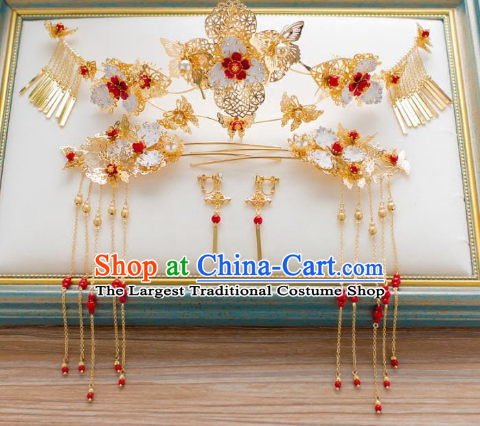 Chinese Ancient Hanfu Hair Accessories Traditional Phoenix Coronet Hairpins Complete Set for Women