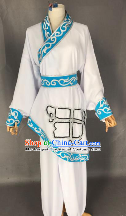 Chinese Ancient Swordswoman White Costume Traditional Beijing Opera Martial Arts Female Clothing for Adults