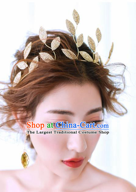 Top Grade Bride Hair Accessories Golden Leaf Royal Crown Headwear for Women