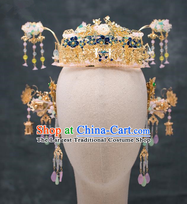 Chinese Ancient Hanfu Wedding Phoenix Coronet Hair Accessories Traditional Tassel Hairpins for Women