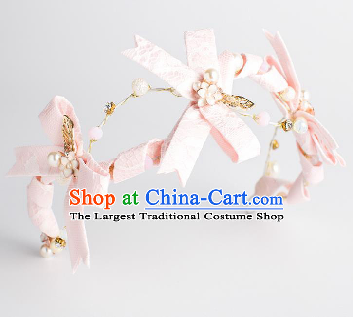 Top Grade Wedding Hair Accessories Bride Pink Bowknot Royal Crown Headwear for Women