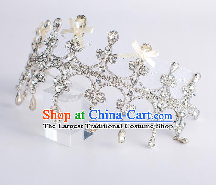 Top Grade Wedding Hair Accessories Bride Crystal Bowknot Royal Crown Headwear for Women