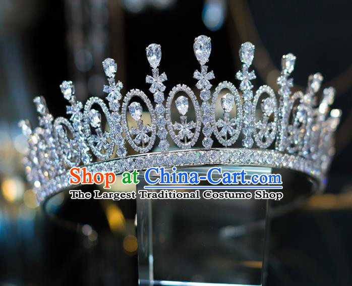Top Grade Bride Hair Accessories Princess Zircon Royal Crown Headwear for Women
