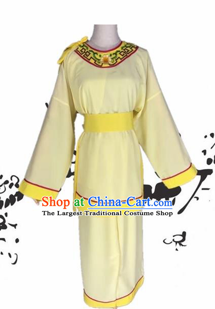 Chinese Beijing Opera Livehand Yellow Clothing Traditional Peking Opera Servant Costume for Adults