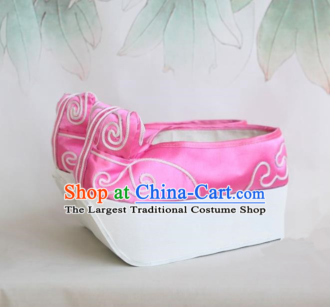 Chinese Traditional Beijing Opera Niche Shoes Beijing Opera Pink Embroidered Shoes for Men