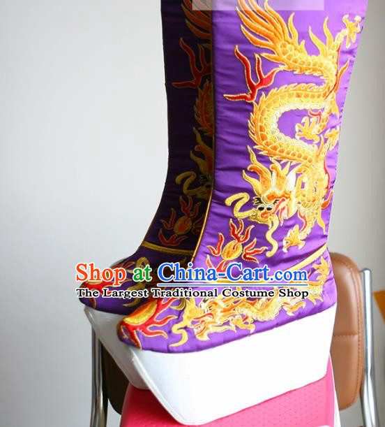 Chinese Traditional Beijing Opera Emperor Shoes Beijing Opera Takefu Purple Embroidered Boots for Men