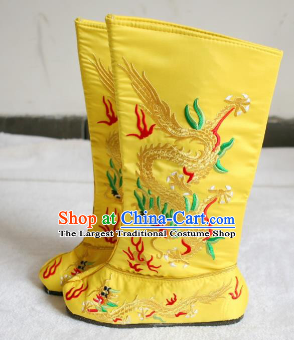 Chinese Traditional Beijing Opera Shoes Beijing Opera Takefu Yellow Embroidered Boots for Men