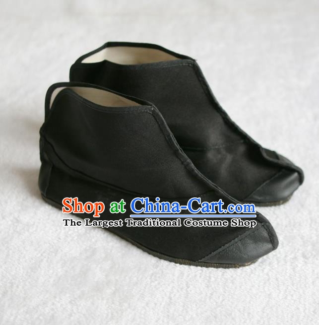 Chinese Traditional Beijing Opera Shoes Beijing Opera Takefu Black Boots for Men