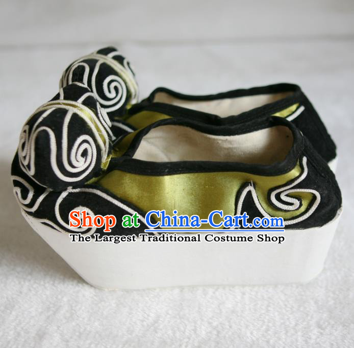 Chinese Traditional Beijing Opera Niche Green Shoes Beijing Opera Cloth Shoes for Men