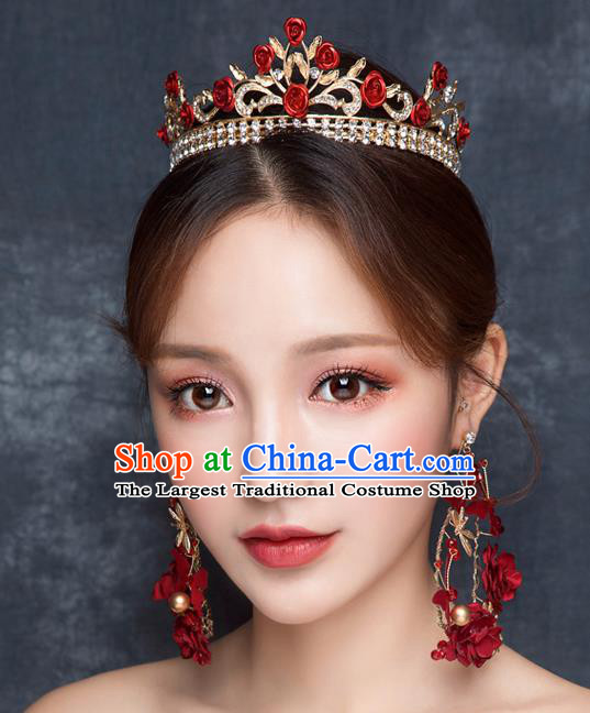 Top Grade Wedding Hair Accessories Bride Retro Red Rose Royal Crown for Women
