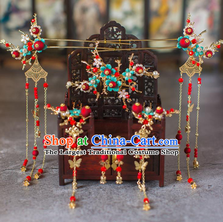 Chinese Ancient Golden Tassel Hair Comb Wedding Hair Accessories Traditional Hairpins for Women