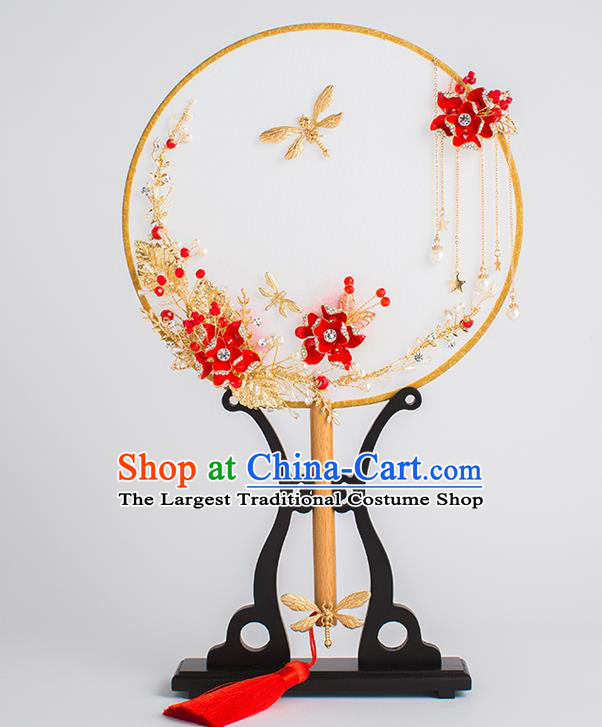 Chinese Traditional Palace Fans Ancient Bride Wedding Dragonfly Round Fans for Women