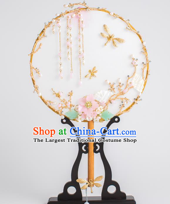 Chinese Traditional Palace Fans Ancient Bride Wedding Golden Dragonfly Round Fans for Women